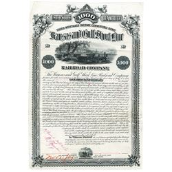 Kansas and Gulf Shortline Railroad Co., 1881 Unique Approval Proof Bond.