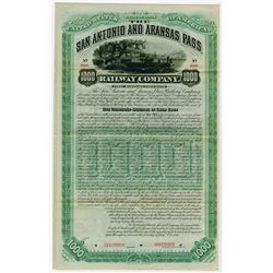 San Antonio and Arkansas Pass Railway Co., 1886 Specimen Bond