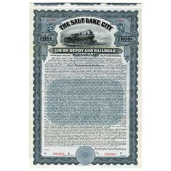 Salt Lake City Union Depot and Railroad Co. 1908 Specimen Bond.