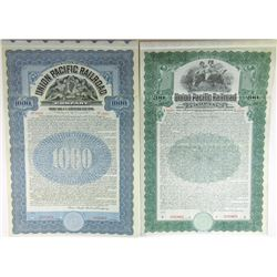 Union Pacific Railroad Co., 1907 & 1908 Specimen Bond Pair.