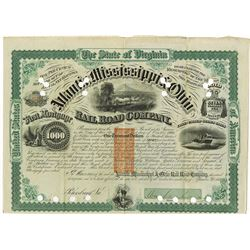 Atlantic, Mississippi & Ohio Rail Road Co., 1871 I/C Bond Signe by William Mahone as President.