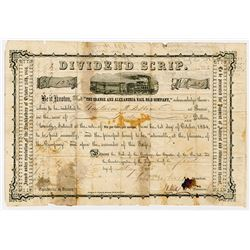 Orange & Alexandria Rail Road Co. Issued Dividend Scrip Bond, 1855