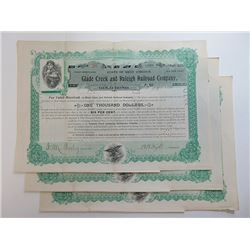 Glade Creek & Raleigh Railroad Co. 1897 Bond Trio