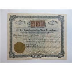 Glen Jean, Lower Loup & Deep Water Railroad Co. 1900 Share Certificate