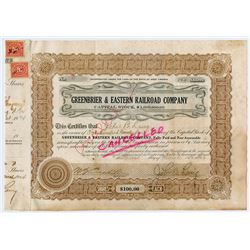 Greenbrier & Eastern Railroad Co. 1924 Stock Certificate.