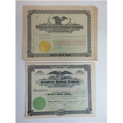 Greenbrier Railway Co. & Virginia Airline Railway Co. Group of Unissued Share Certificates