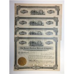 Loop & Lookout Railroad Company Share Certificate Grouping of 4 Pieces