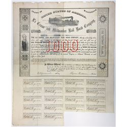 La Crosse and Milwaukee Rail Road Co., 1857 I/U Coupon Bond.