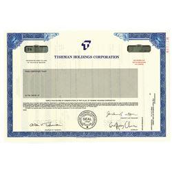 Tishman Holdings Corp., 1988 Specimen Stock Certificate.