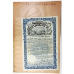 City and County of San Francisco, Hall of Justice Bond, 1908 Cancelled Bond
