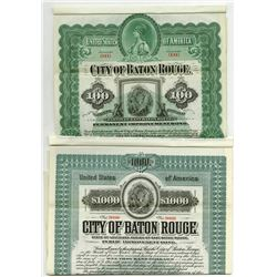 City of Baton Rouge, 1899 and 1905 Specimen Bonds.