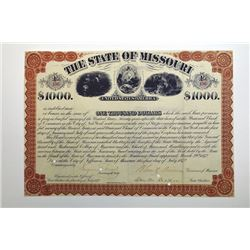 State of Missouri, University Bond, 1872, $1,000 Bond Signed by Benjamin Gratz Brown as Governor.