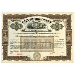 City of Brooklyn, Museums of Art and Science Bond, 1891 Specimen Gold Bond
