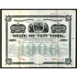 State of New York, Bureau of Canal Affairs, 1895, Specimen Bond.