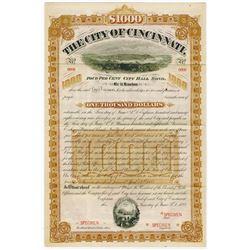 City of Cincinnati, 1888 Specimen Bond