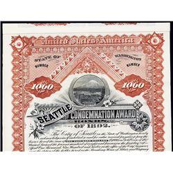 Seattle Condemnation Award, 1892 Specimen Bond.