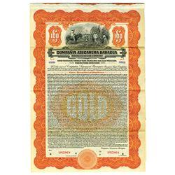 Baragua Sugar Co., 1922 Specimen Bond