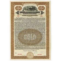 Compania Azucarera Salamanca/Salamanca Sugar Co., 1923 Specimen Bond