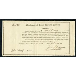 Wilmington and Kennett Turnpike Co., 1811 Issued Stock Certificate