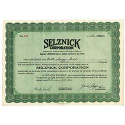 Selznick Corporation 1922 Stock Certificate Signed by David and Lewis Selznick