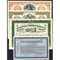 Samuel Insull Stock Certificate Quartet Including an Autographed Certificate.