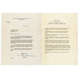 Thomas Watson, IBM Chairman & CEO,  Autographed Letter