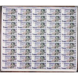 De La Rue Giori S.A. ND (ca.1970's-1980's). Uncut Sheet of 45 Beethoven Advertising Notes.