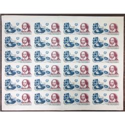 Organisation Giori. ND (ca. 1980). Uncut Sheet of 24 Shakespeare Advertising Notes.