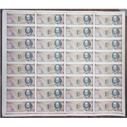De La Rue Giori S.A. Lausanne. ND (ca.1970's-1980's). Uncut Sheet of 32 Shakespeare Advertising Note