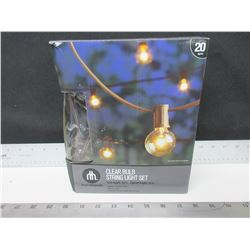 New 20 foot Clear Bulb String Light Set / great for your Patio / tested working