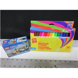 Washable Broadline Markers 30 pack & LEGO City Lego set ATV Police