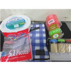 Camping or Picnic Bundle / 100 plates , Cutlery , Cups , Tablecloth , Toothpics