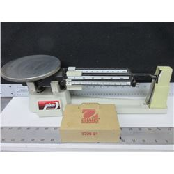 Ohaus Tripple Beam Scale with extra weights for larger weight