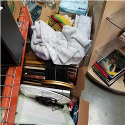 BOX OF PICTURE FRAMES, TIE DIE ART BOOKS, AND 2 BOXES OF ESTATE ITEMS AND GARDEN ITEMS