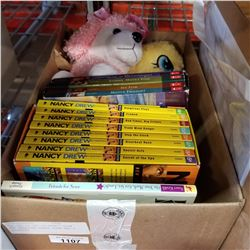BOX LOT OF SET OF NANCY DREW AND TREASURE HORSE BOOK AND 2 STUFFIES