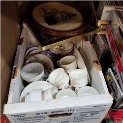 BOX OF VARIOUS CHINA AND 2 VINTAGE PICTURES