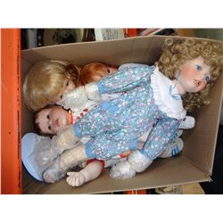 5 PORCELAIN DOLLS