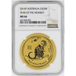 2016-P $200 Australia Year of the Monkey Gold Coin NGC MS66