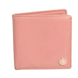 Chanel Pink Leather CC Logo Bifold Wallet