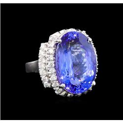 GIA Cert 17.55 ctw Tanzanite and Diamond Ring - 14KT White Gold