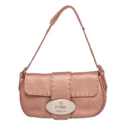 Fendi Metallic Pink Leather Selleria Baguette Bag