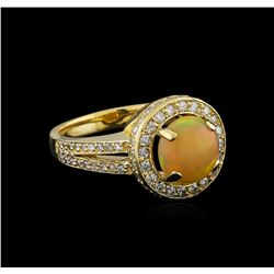1.48 ctw Opal and Diamond Ring - 14KT Yellow Gold