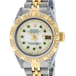 Rolex Ladies 2 Tone 14K MOP Emerald & Pyramid Diamond Diamond Datejust Wriswatch