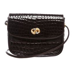 For the Art Brown Croc Leather Crossbody Bag