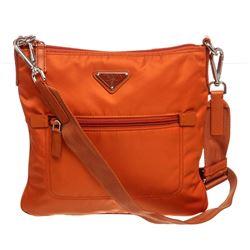 Prada Orange Nylon Crossbody Shoulder Bag