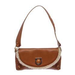 Salvatore Ferragamo Brown Leather Small Shoulder Handbag