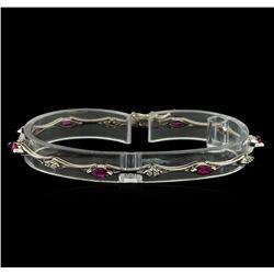 0.60 ctw Ruby and Diamond Bracelet - 14KT White Gold