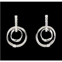 1.01 ctw Diamond Earrings - 14KT White Gold