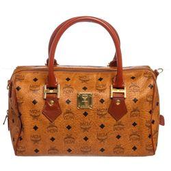 MCM Cognac Visetos Coated Canvas Leather Trim Vintage Boston Bag