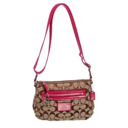Coach Brown Monogram Canvas Pink Patent Leather Small Crossbody Bag